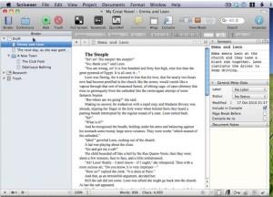 La visuale standard di Scrivener a tre colonne: Binder (a sinistra), Editor (al centro), Inspector (a destra),