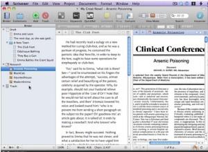 La cartellina Research: la selezionate e, nella colonna destra, appare il documento che fa parte del vostro materiale di ricerca: in questo caso, una cartella clinica...